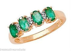 9ct Gold Real Emerald Four Ovals & Diamond Ring (available in sizes J - T )