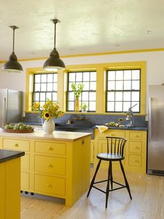 10 Bright, Cheery Yellow Kitchens — Look We Love.  Brought to you by GE Appliances and #OurAmericanKitchen