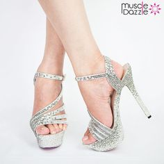 Shoes that sparkle as bright as you. Fully decorated with a blend of silver and dark silver crystals. Strappy High Heel Platforms with Silver / Dark Silver Crystals Silver Strappy High Heels, Rhinestone Heels, Silver Rhinestone, Wbff Bikini, Crystal Shoes, Bling Shoes, Platforms, Sparkle, Bright