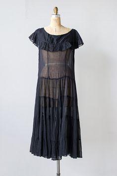 vintage 1920s black sheer ruffle dress