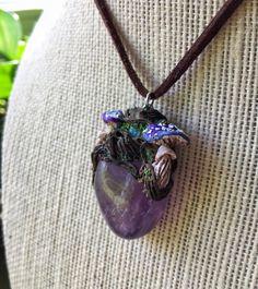 Amethyst & Moonstoone Mushroom Necklace  Wicca by GaiasMysticGems