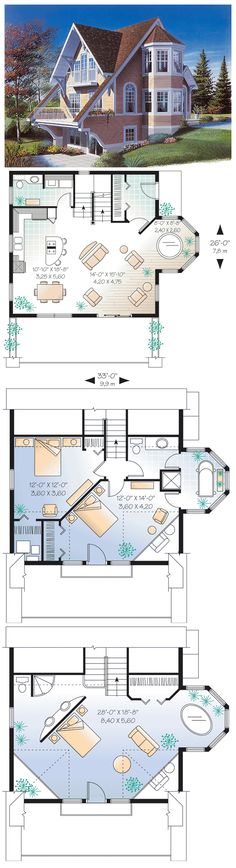 #Contemporary #HousePlan 65284 has 1325  sq ft of living space, 2 bedrooms and 1.5 baths. Access a private balcony from the 2nd level. Enjoy special ceiling treatments and abundant windows. A hot tub is located in the turret. This imaginative and unusual layout is the perfect small family home!