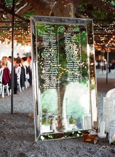 menu or table assignments on mirror.