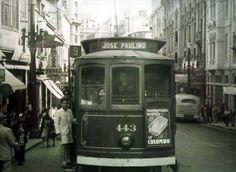 Sérgio Castro/Estadão - Na foto, bonde linha 9 na rua Líbero Badaró em 1943