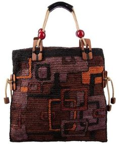 Jamin Puech tapestry crochet Tote Bag Love the pattern of interlocking squares, and the colors!