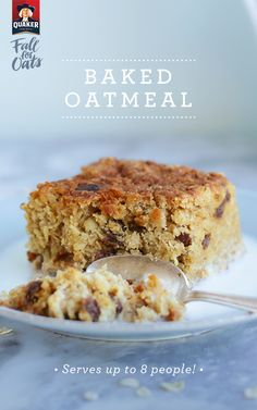 """With Quaker® oats, there's always a new way to start your day. Baked oatmeal is a sweet, hearty breakfast that can serve up to 8 people. Don't have a full table? Just store and save for later. """"Future you"""" deserves a smile anyway."""