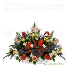 Ramos artificiales cementerios y jardineras Todos los Santos. Jardinera cerámica rosas artificiales naranja y bicolor 30