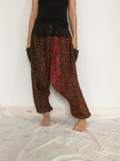 Mixed Colors  Hippie Harem Pants, Unisex Pants, Drop Crotch Pants, Baggy Pants with Om patterned (HR-562) by ThaiFascinate on Etsy