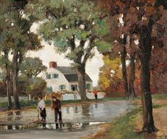 Anthony Thieme (American, 1888-1954) Going for a Walk /A View of Main Street, Rockport, Massachusetts | Sale Number 2609B, Lot Number 547 | Skinner Auctioneers