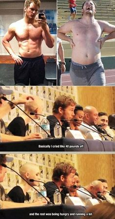 Haha, Chris Pratt talks about how he lost weight.