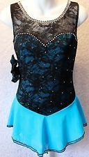 New Figure Skating Dress Black Lace & Turquoise Ladies Med Custom Design by Sue