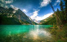 Download wallpapers Lake Louise, mountain lake, 4k, mountains, forest, Canada, Banff national park, Alberta