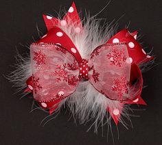Snowflake Kisses Girls Hair Bow