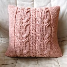 Chunky Pink Cable Knit Pillow / Cushion Cover by Lindyknits, Knitted Cushion Covers, Knitted Cushions, Knitting Stitches, Hand Knitting, Knitting Patterns, Sweater Pillow, Crochet Pillow, Cute Pillows, Throw Pillows