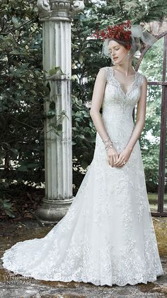 beautiful modified a line gown thick lace strap v neckline lace crystal pearl tulle skirt katiya
