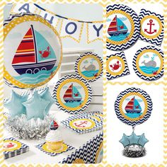 This is a fantastic Nautical theme you can use for your baby shower or a toddlers birthday. It showcases a chevron background with sailing boats, crabs and anchors. See the full collection here: http://www.partythings.ca/Ahoy-Matey-1