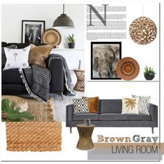 Brown & Grey by mejola on Polyvore featuring interior, interiors, interior design, home, home decor, interior decorating, Gus* Modern, Palecek, David Trubridge and Pier 1 Imports