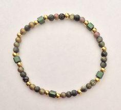 Green & Brown Multicolor Stretch Bracelet, Rustic Earthtones Elastic Braclet, Glass gold tone Beaded Boho Bracelet, sale price by EverydayWomenJewelry on Etsy https://www.etsy.com/listing/219493361/green-brown-multicolor-stretch-bracelet