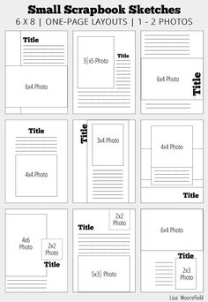 Small Scrapbook Sketches - single page designs for 1 - 8 photos