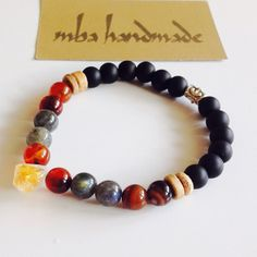 MEN'S NATURAL GEMSTONE CITRINE POINT LABRADORITE CARNELIAN ONYX BEADED BRACELET #MbaHandmade #Beaded
