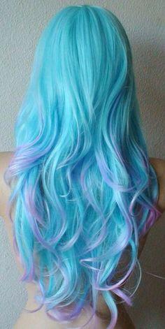 Anniversary Special Blue/ Purple wig Long wavy hair by kekeshop, Dip Dye Hair, Dye My Hair, Dip Dyed, Mint Green Hair, Mint Blue, Mint Hair, Lavender Hair, Pastel Blue, Lavender Ideas