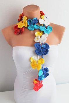 Multicolor Spring Flower Hand Crochet Lariat Scarf on http://lolobu.com/o/240