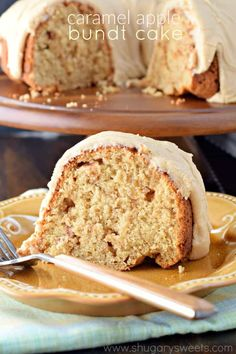 """This Caramel Apple Bundt Cake is the perfect breakfast cake or dessert recipe! The caramel frosting is truly the """"icing on the cake."""""""