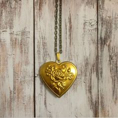 Vintage Heart Photo Locket Necklace Rustic Gold Brass by XenaStyle
