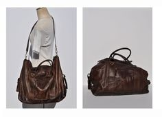 vintage leather duffle bag duffel vintage 1980s by anniehaul