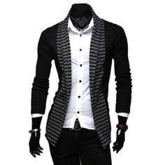 Brand Clothing 2017 Fashion Spring&Autumn Stripe Men's Leisure Slim Fit Long-sleeved Knitted Cardigan Open Stitch Jacket Coat