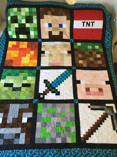 Mine craft quilt. Now to create a pattern for it.  QitW: I think my son would love this as he is all about Minecraft right now.