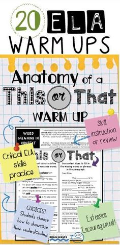 "This resource includes 20 This or That Warm Ups with a total of 40 activities that review critical ELA skills. Each This or That Warm Up includes instruction (at the top of the worksheet) and then 2 choices for students to showcase their learning. After reviewing each choice, students can choose to do the ""This"" activity or the ""That"" activity. The choices promote engagement and tap into multiple learning styles"