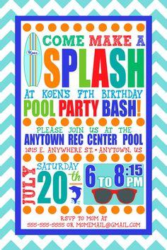 Custom Boy Swim Party Invitation by SayItLoudDesigns on Etsy, $15.00