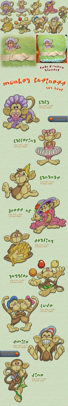 Monkey Business 4x4 Embroidery Designs Free Embroidery Design Patterns Applique