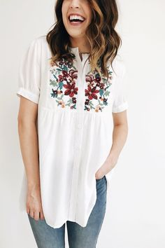 """Ivory Babydoll Blouse Mandarin Collar Cuffed Short Sleeve Floral Embroidery Button Up Front Nursing Friendly Also Available in Taupe Model is 5'7"""" + Wearing a Small"""