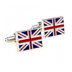 Premim Qualty Enamel Union Jack Flag Cufflinks with Black Velvet Gift Bag