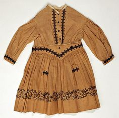 Child's dress, linen, cotton and silk, 1858-9, American