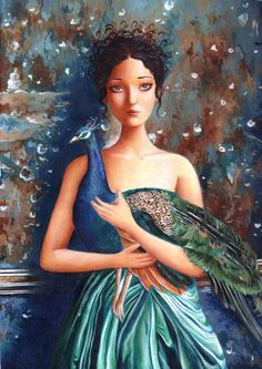 A Girl and Her Peacock Art Print from an original acrylic painting by Irene Owens. via Etsy.