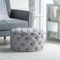 Shop, compare and enjoy the savings of the Belham Living Allover Round Tufted Ottoman on Hayneedle to the Frontgate Bijoux Glace Tufted Ottoman. The Belham Living Allover Tufted Round Ottoman offers designer-inspired style without the additional cost! Tufted Ottoman Coffee Table, Round Tufted Ottoman, Grey Ottoman, Tufted Storage Ottoman, Fabric Ottoman, Large Ottoman, Ottoman Stool, Home Living Room, Bedroom Decor