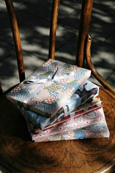 Gift-wrapped Persephone Books! An independent publisher based in Bloomsbury, London. Founded in 1999 by Nicola Beauman, they reprint neglected fiction and non-fiction by mid-twentieth century (mostly) women writers.  #books #bookshop