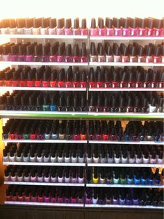 opi nail lacquer. i don't have opi polish, but i do want to set up my collection like this!