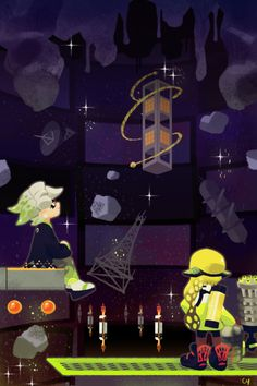 """""""When we were kids, Callie and I would count stars together at night.""""  A piece loosely based of the dialogue from this Octo Canyon area. I also made a sort of """"process gif"""" of how I usually work! See below!"""