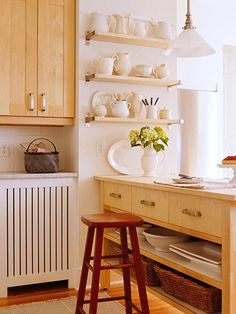 open shelving and free standing island