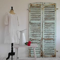 PAIR OF VINTAGE FRENCH MINT GREEN LOUVERED SHUTTERS, £200.00