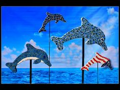 "2 mini 18"", small 34"" and medium 45"" tile mosaic dolphins"