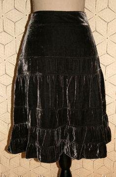 Olive Green Velvet Skirt Bohemian Clothing Gypsy by MagpieandOtis