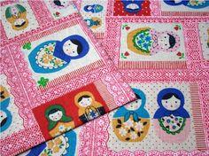2348  Japanese Matryoshka Russian Nesting Dolls Cotton by boqinana, $5.00