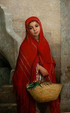 Algérie - Peintre français   Charles Zacharie Landelle (1821-1908), huile sur toile , Titre : Jeune femme avec des fleurs