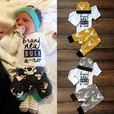 3PCS Set Newborn Baby Boy Girl Tops Romper + Long Pants Long Sleeve Cotton Hat Outfits Clothes 0-18M