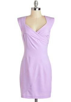 Aperitif You Please Dress in Lilac - Purple, Solid, Wedding, Pastel, Sheath / Shift, Cap Sleeves, Spring, Mid-length, Cocktail, Vintage Inspired